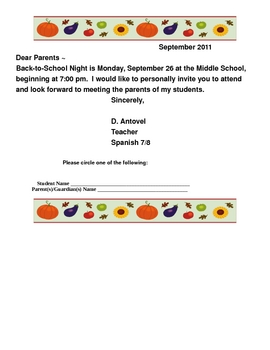 Back-To-School Night Parent Invitation and RSVP