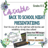 Editable Back To School /Meet The Teacher Night Presentati