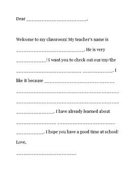Back To School Night - Student Letter to Parents - Grades K, 1, 2