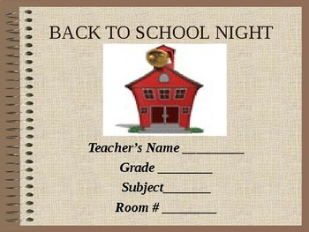 Back To School Night - Presentation for Parents (Template for Teachers)
