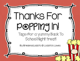 """Back To School Night """"Thanks for Popping In"""""""