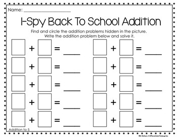Back To School No-Fuss, No-Muss Math I-Spy: Kindergarten and 1st Grade Aligned