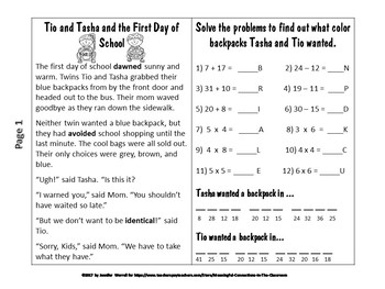 Back-To-School No-Prep Story Packet--Math, Vocabulary, and Craft Activities