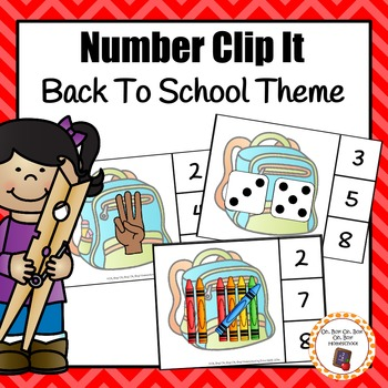 Back To School Number (0-20) Clip It Cards