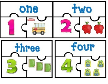 Dual Language / Bilingual Center:    Number Matching Puzzles 1-16