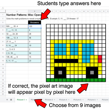 Back To School - Number Patterns: Misc Operations - Google Sheets Pixel Art