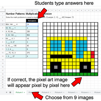 Back To School - Number Patterns: Multiplication & Division - Google Sheets