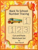 Number Tracing 1-10, Numbers Cut and Paste Worksheets Kindergarten Numbers to 10