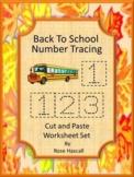 Distance Learning Number Tracing 1-10, Numbers Cut Paste Worksheets PreK, K