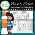 Back To School Numbers 0-25 Dab It