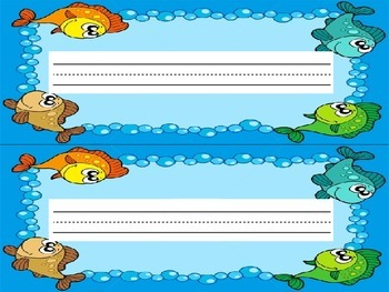 Back-To-School: Ocean and Fish Name Plate Labels