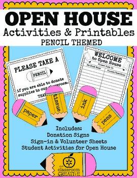 Back To School Open House/Parents' Night Activities & Printables