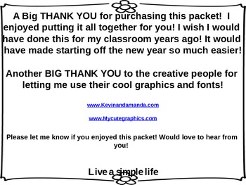 Back To School Organizer Packet