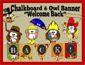 "Chalkboard & Owl Banner:   ""Welcome Back"""