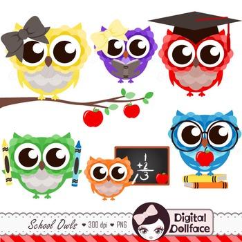 Back to school owl. Clipart graduation reading math
