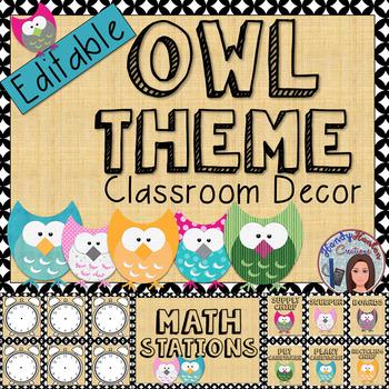 Owl Themed Classroom Decor Editable