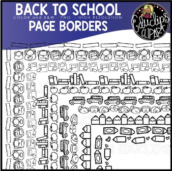 Back To School Page Borders {Educlips Clipart}