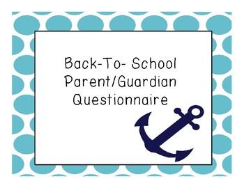 Back To School Parent/ Guardian Forms