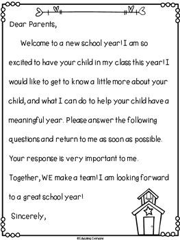 Parent Letter and Survey