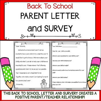 Back To School Parent Letter and Survey by Educating Everyone 4 Life