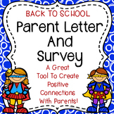Back To School Parent Letter and Survey {Superhero Theme}