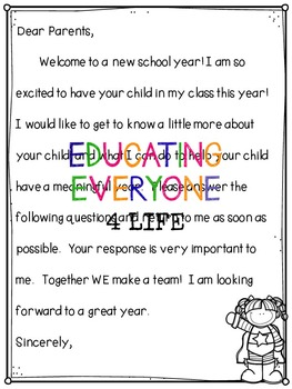 Back To School Parent Letter and Survey {Superhero Theme}