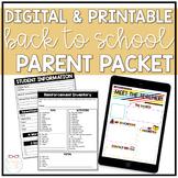 Digital & Printable Back To School Parent Packet   Google Forms