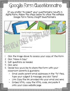 Back To School Editable & Google Form Family Insight Parent Questionnaire