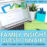Back To School Editable Google Form Family Insight Parent