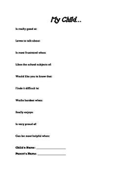 Back-To-School Parent Questionnaire