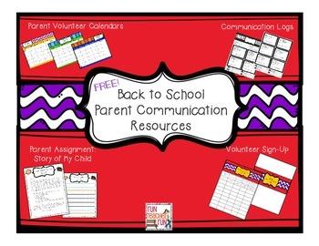 Back To School Parent Resources Calendars Communication Log