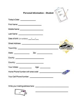 Back To School Parent & Student Personal Info Packets - Special Ed Classroom