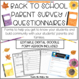 Back To School - Parent Survey / Questionnaire - Getting to Know You