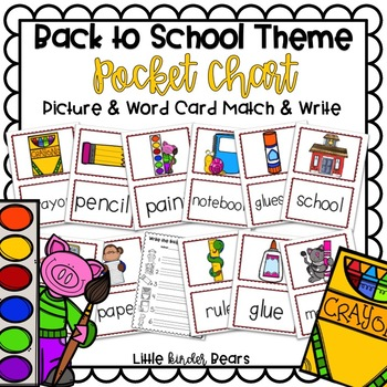 Back To School Pocket Chart Pictures & Word Cards