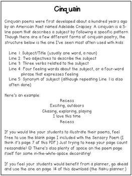 Back To School Poetry Pack