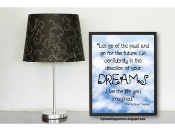 Inspirational Poster Henry David Thoreau DREAMS Quote Blue