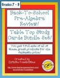 Back To School PreAlgebra Review Table Top Study Cards Bundle Set!