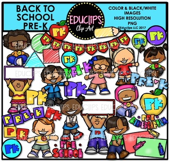 Back To School Pre K Clip Art Bundle {Educlips Clip Art}