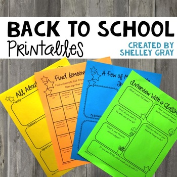 Back To School Printables: Activities for the First Week Back