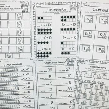Back To School Printables-Math and Literacy On The Go