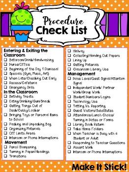 Back To School Procedure Check List *Freebie*