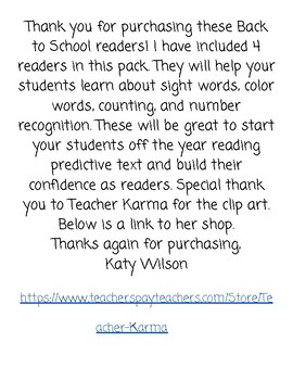 Back To School Readers