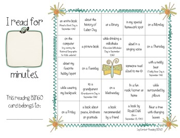 Back To School Reading BINGO