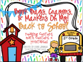 Back To School Centers-Reading Centers, Math Centers, and Printables