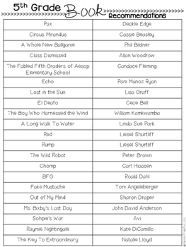 FREE Back To School Reading Chapter Book List