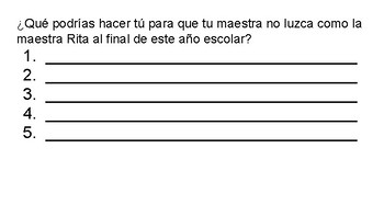 Back To School Reading Comprehension in Spanish
