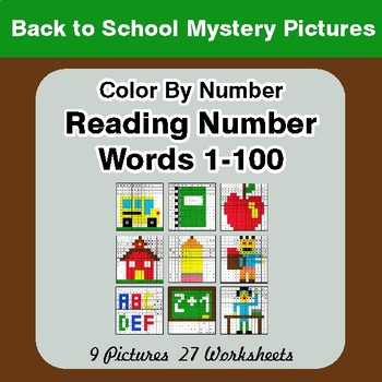 Back To School: Reading Number Words 1-100 - Color By Number - Mystery Pictures
