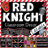 Red and Black Classroom Decor Medieval Knight Editable