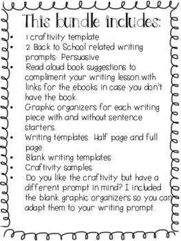 Back To School / Regreso a la escuela- Persuasive Writing Craftivity - Spanish