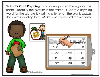 Back To School Rhyming Write the Room - Differentiated and Aligned